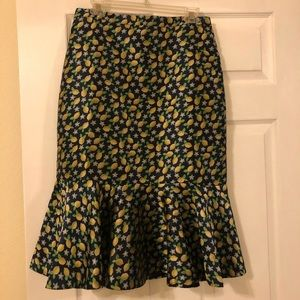 J. Crew Trumpet Skirt with Lemons - Size 10 NWT!!!